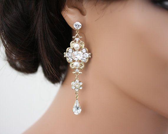 Chandelier Earrings Gold Bridal Swarovski White Ivory Pearl Crystals Vintage Style Wedding