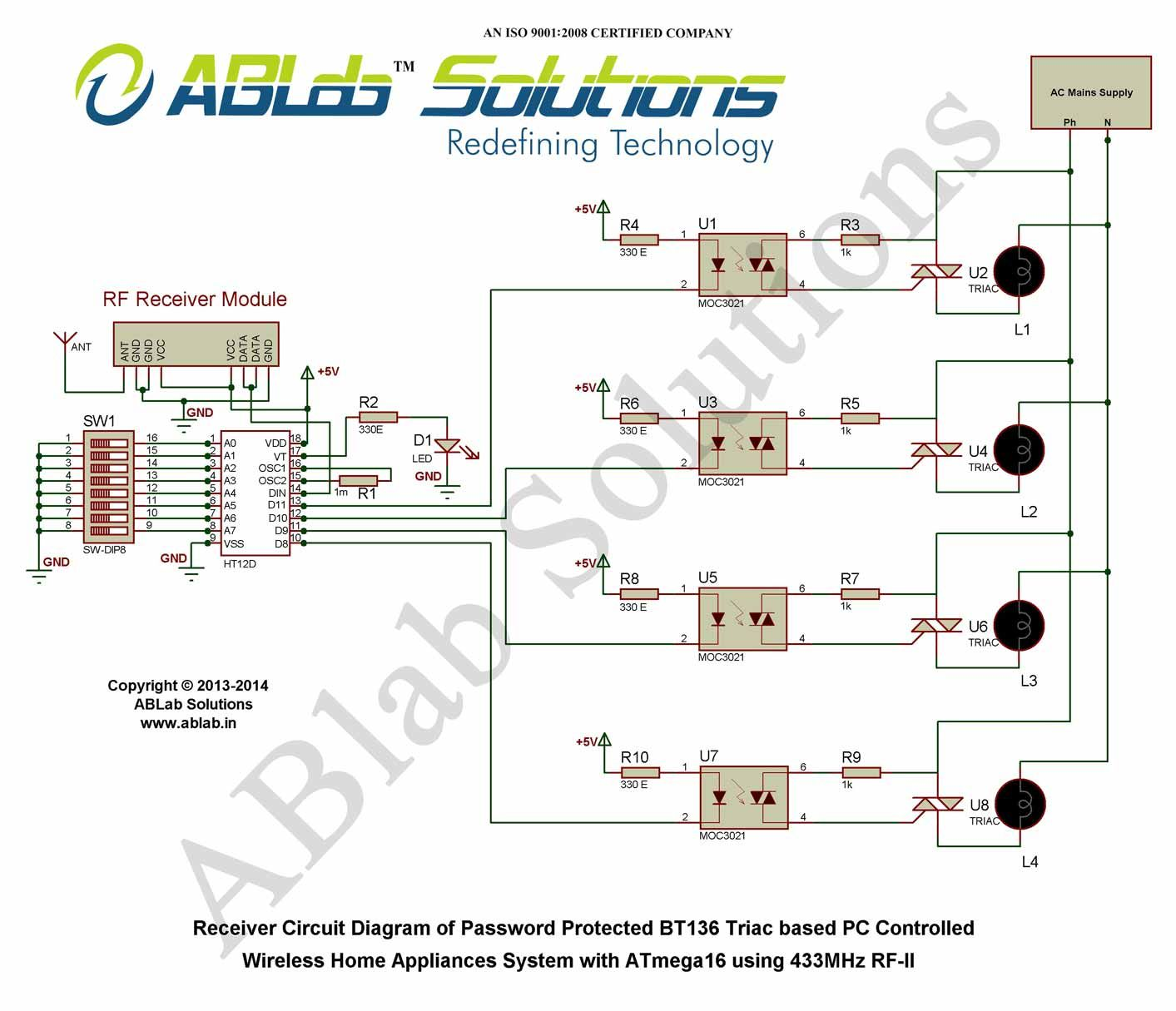 Password Protected Bt136 Triac Based Pc Controlled Wireless Home Accelerometer Wiring Diagram Free Download Diagrams Pictures Appliances System With Avr Atmega16 Microcontroller Using 433mhz Rf Ii Receiver Circuit
