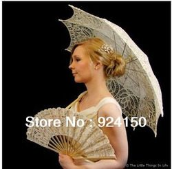 Free Shipping Lace Fan And Wedding Umbrella Royal Vintage Battenberg Lace Parasol Sun Umbrella & Fan in White Handmade(China (Mainland))