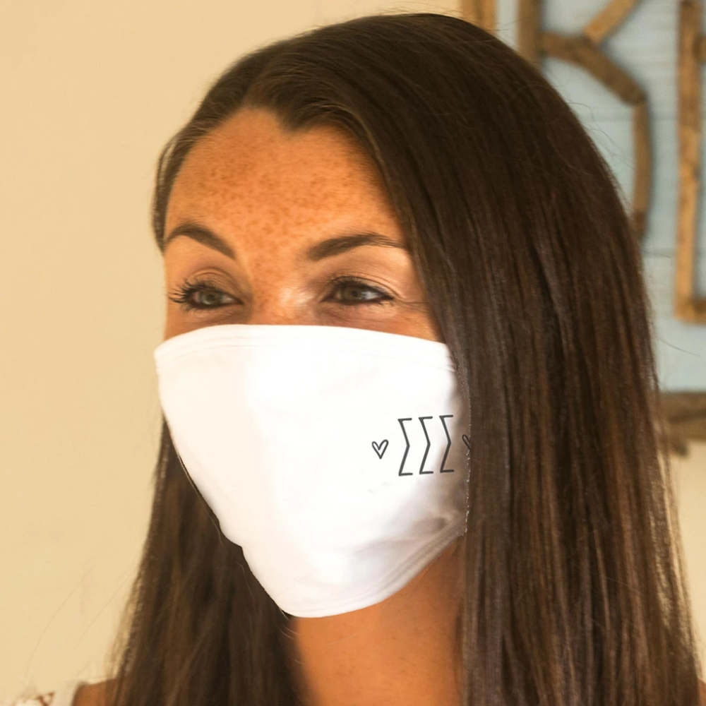 Sigma Sigma Sigma Face Masks With Sorority Name Printed On Both Sides Of The Cotton Face Covering Face Cover Sorority Mask