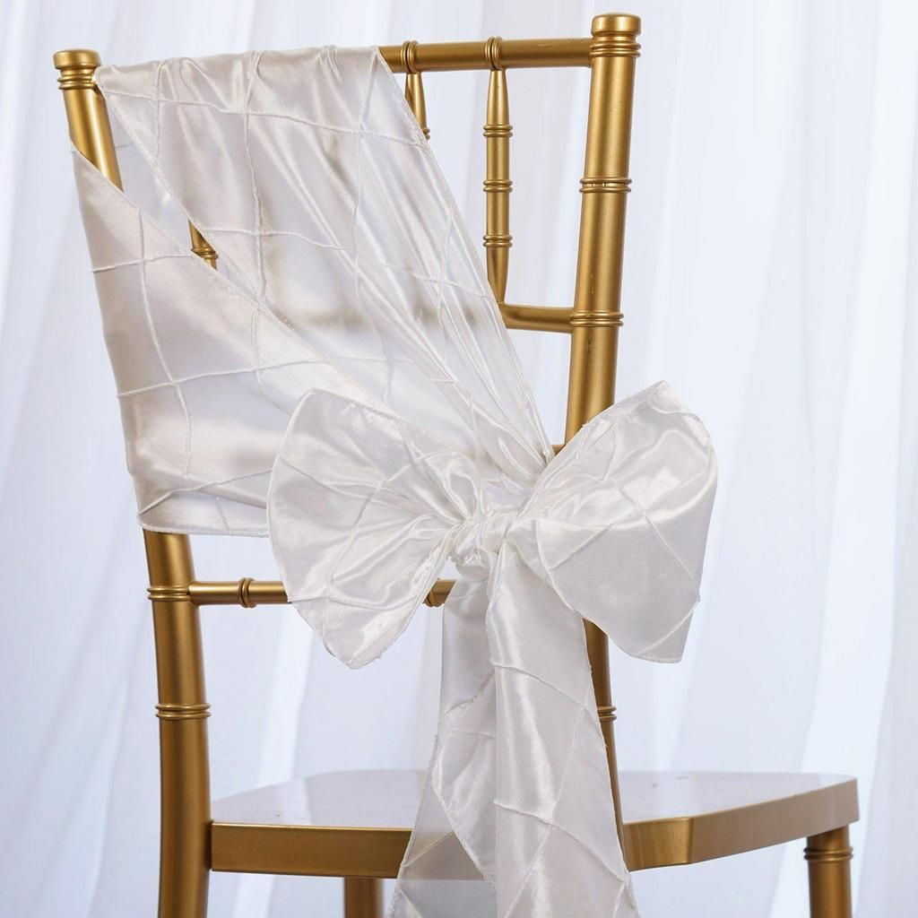 Wedding Venue Decorations 50 x PINTUCK TAFFETA CHAIR SASHES Ties ...