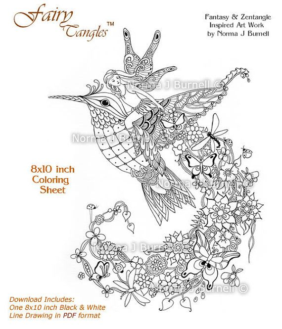 New Fairy Tangle Adult Coloring Page by Norma J Burnell https