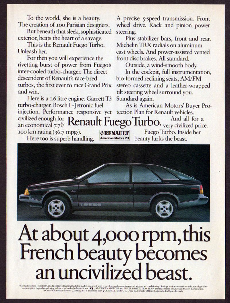 1983 RENAULT Fuego Turbo Vintage Original Print AD Sport