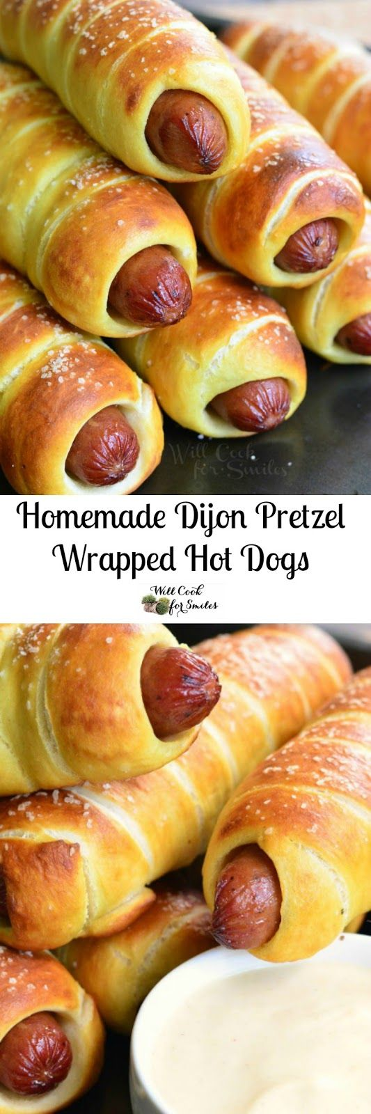 Homemade Dijon Pretzel Wrapped Hot Dogs with Maple Dijon Dipping Sauce