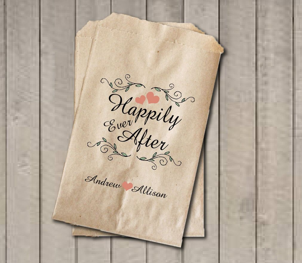 Rustic Wedding Favor Bags, Happily Ever After Favor Bags ...