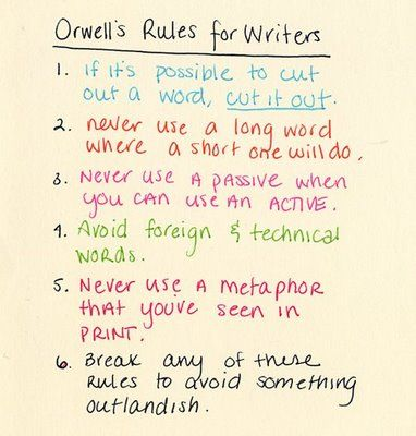 George Orwell S Six Rule For Writer Writing Quote Book Tip Essay On