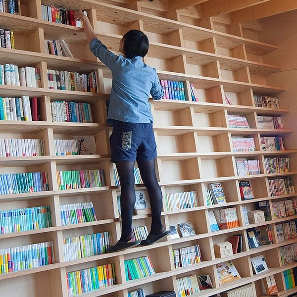 Japanese Architect Designs Home With Earthquake Proof Climbable Bookshelf