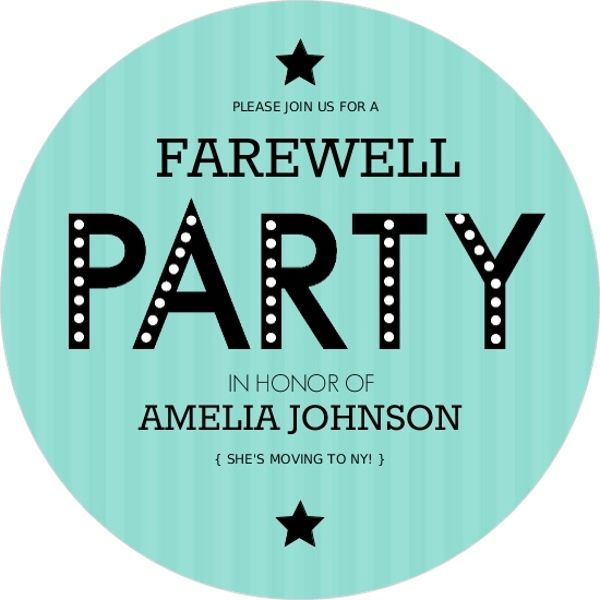 Turquoise Stripe Farewell Party Invite  Going Away Party