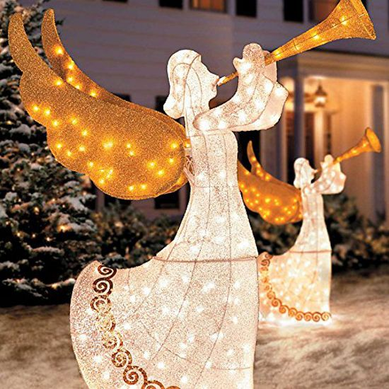 Sculpted Design Outdoor Angel Decorations For Christmas Which Are Lighted And Also Animated With Moving Wings