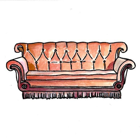Friends Central Perk Couch Watercolor Print 5x7 Tv Couches