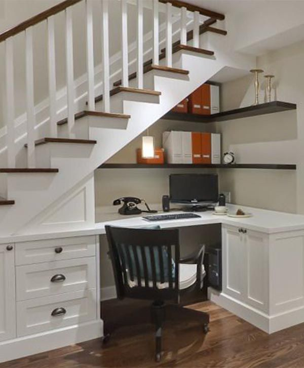 Basement Stair Ideas For Small Spaces: Decor:Under The Stairs Office Small Work Space Creative