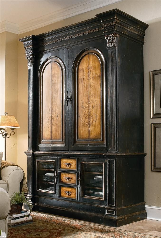 North Hampton Entertainment Console And Pocket Door Hutch Combo By Hooker  Furniture   Riverview Galleries