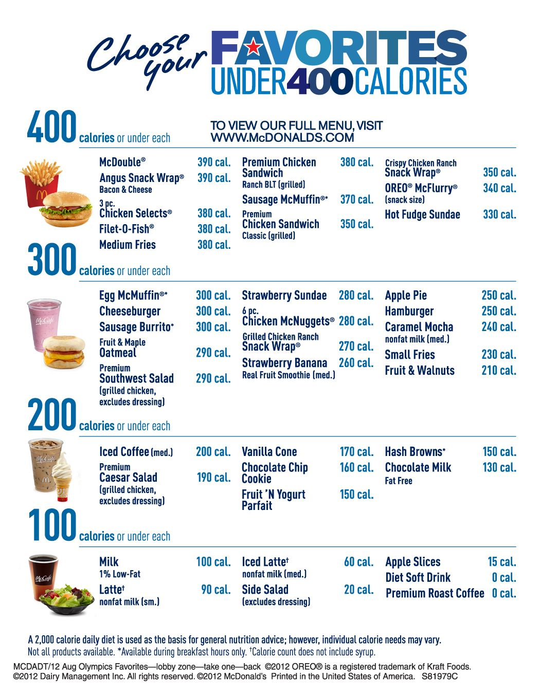 McDonald's Favorites Under 400 Calorie menu features a variety of customers' popular food and beverage choices for under 400 calories. #mcdonalds #McDonald's #400caloriemeals