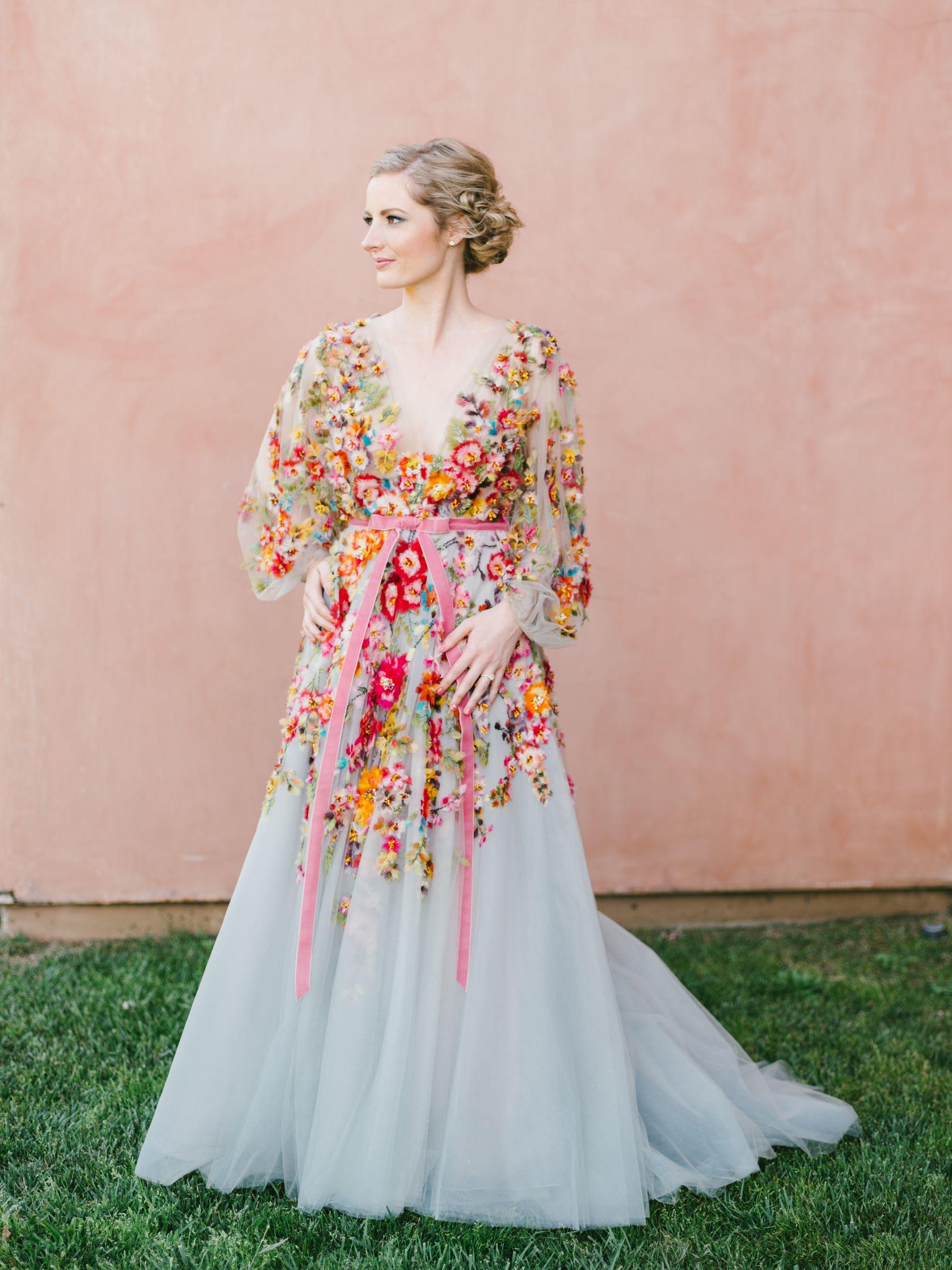 Colorful Marchesa Wedding Gown Fairmont Grand Del Mar Compass Floral Wedding Florist In San D Floral Wedding Gown Gold Wedding Gowns Floral Wedding Dress
