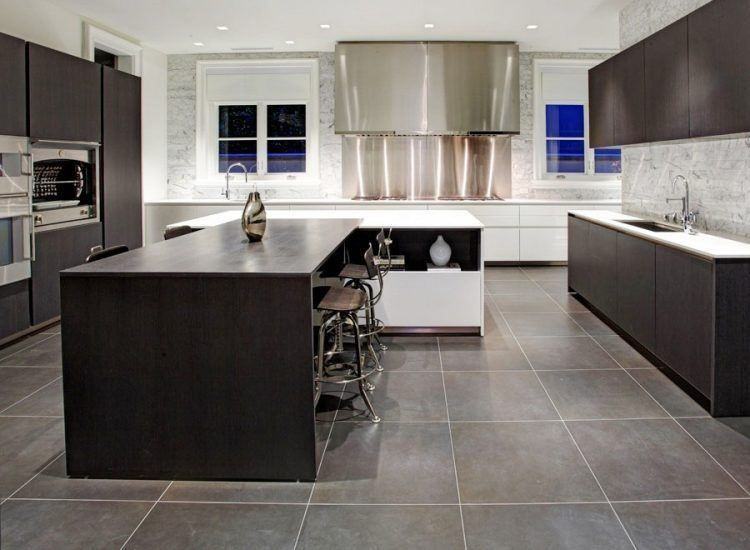 15 Cool Kitchen Designs With Gray Floors Modern Kitchen Tiles Modern Grey Kitchen Grey Kitchen Tiles