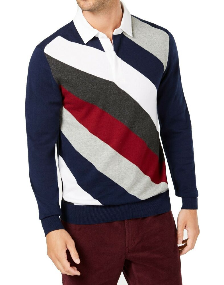 8d13230e0142 Ad)eBay - Club Room NEW Navy Blue Mens Size Large L Striped Polo ...