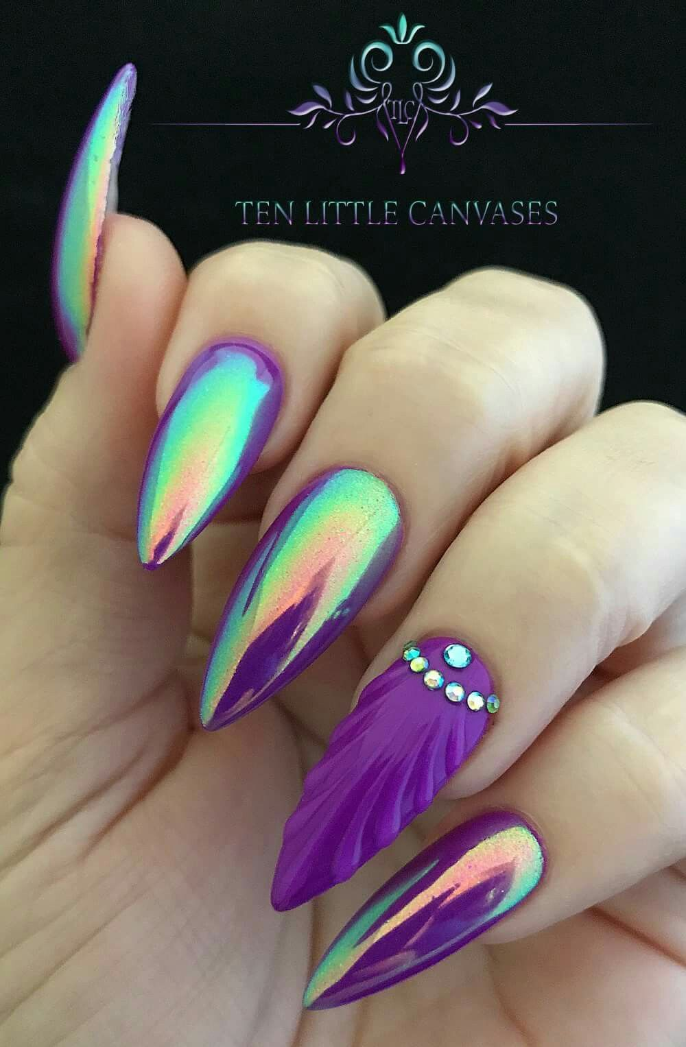 Luminaura Aurora by Social Claws pigment over neon purple with a shell nail  design & crystals as an accent nail - Pinterest // @sereinserenity ⚘ • Queen Claws • Pinterest