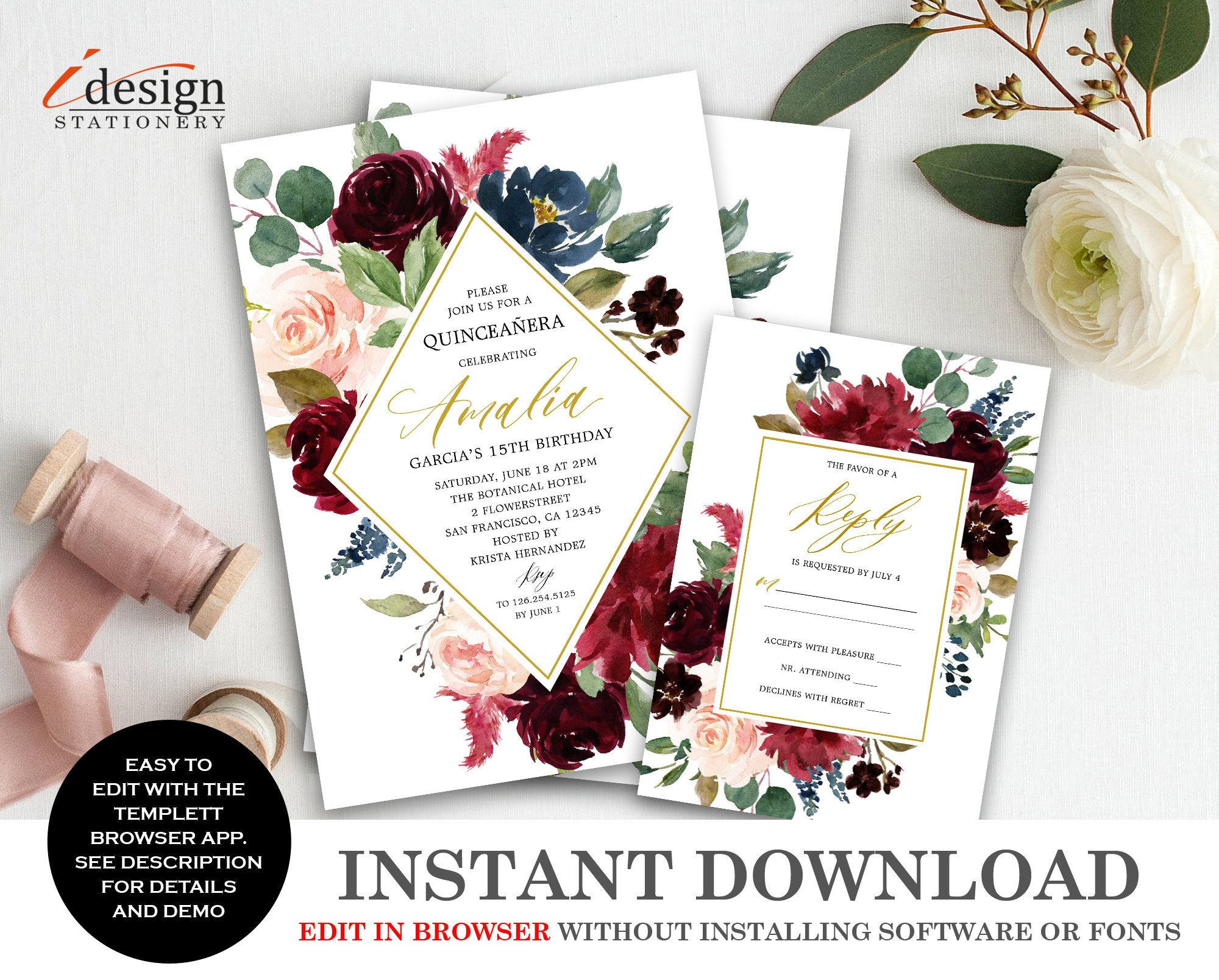 Floral Quinceanera Invitation With Rsvp Printable Burgundy Quince Invite Quinceanera Invitations Party Invite Template Birthday Party Invitation Templates