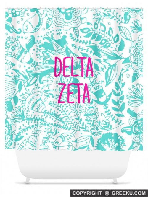 Sorority Floral Pattern Blue Lines Shower Curtain | Free Shipping. Order for your sorority (shown in Delta Zeta)! ** Also comes in other designs. Shop now! http://www.greeku.com/sorority/merchandise/home-decor/shower-curtains/floral-pattern-blue-lines-shower-curtain/