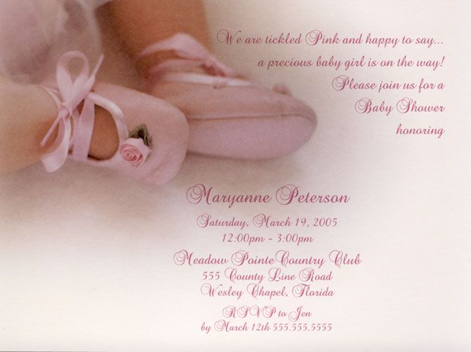 Ballerina Baby Shower Invitations | Ballerina Pink Toes Baby Shower  Invitations, Dance Recital Invites At