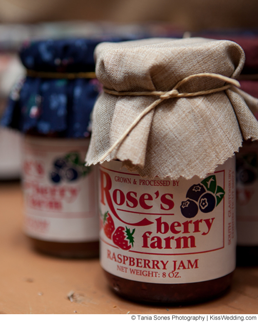 Homemade Jam Favors From A Rainy and Romantic Barnyard  Wedding Bash