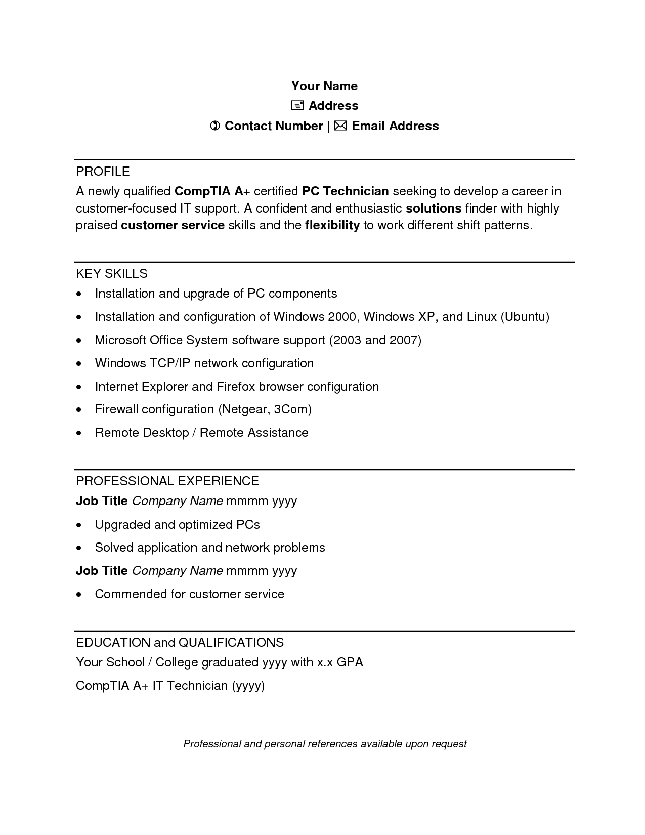 Sample Resume Computer Technician Doc  Home Design Idea
