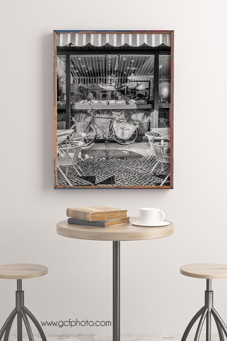 Wall art for kitchen in black u white travel photography dining