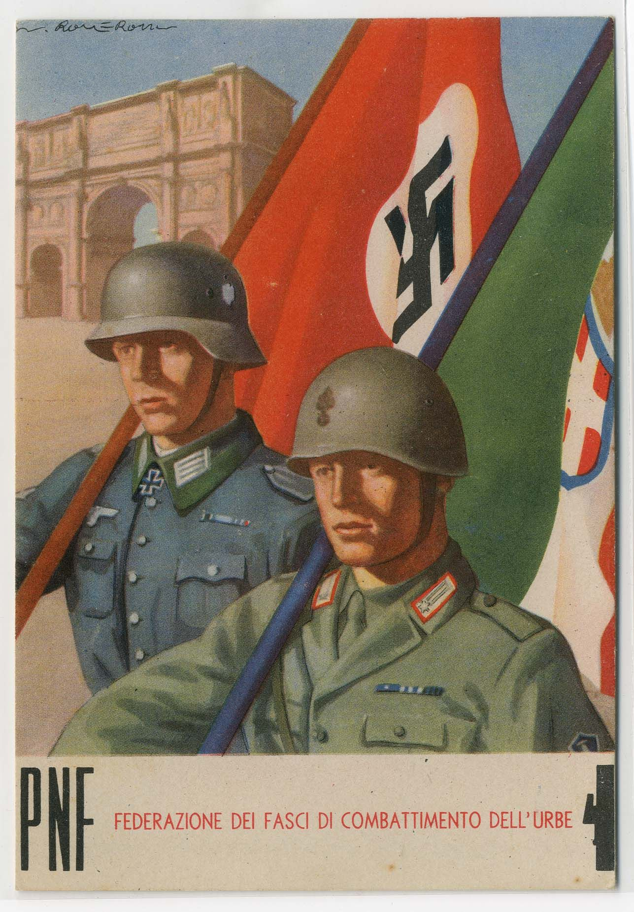 italian ww2 italy and germany standing together wold propaganda