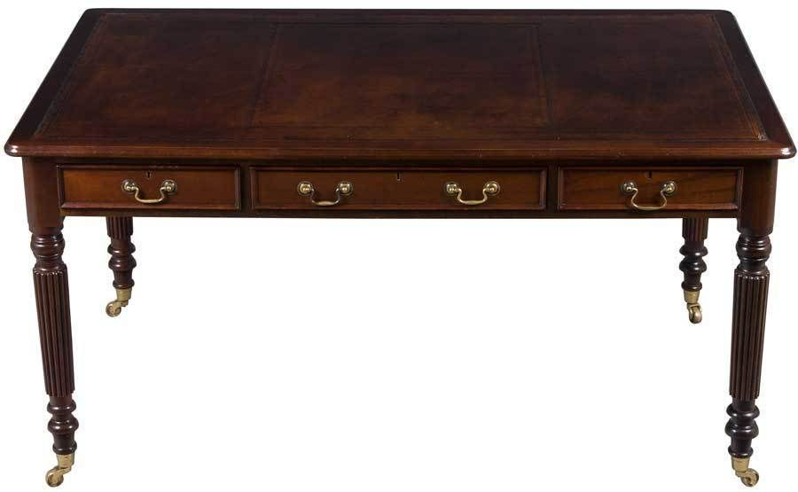 Atlanta $3,405 36dx30hx60w Antique Style Mahogany Writing Desk Library Table  on Legs w Drawers Leather Top #Traditional - Antique Style Mahogany Writing Desk Library Table On Legs W Drawers