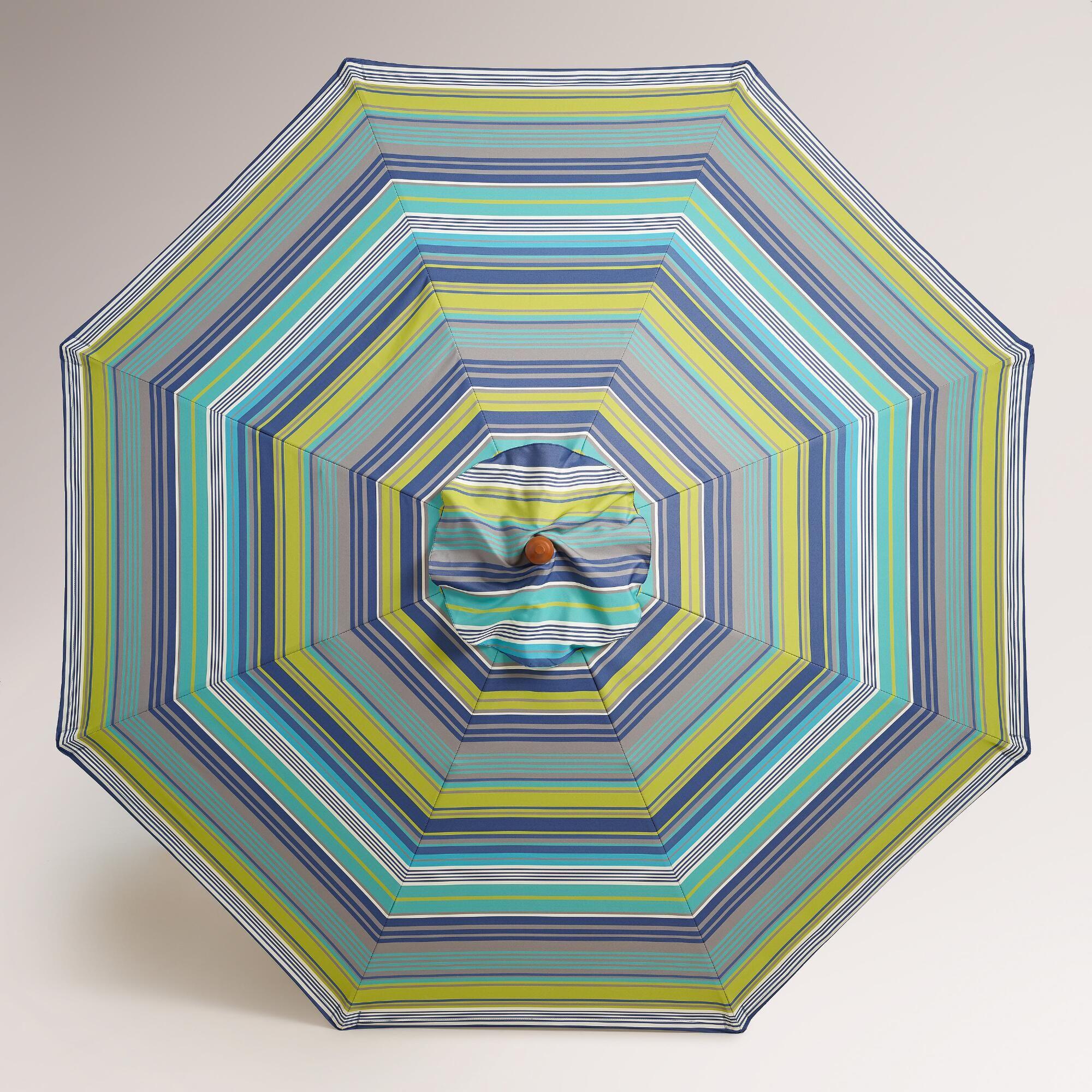 Cote Blue Striped 9u0027 Umbrella Canopy | World Market   LOVE These Colors!