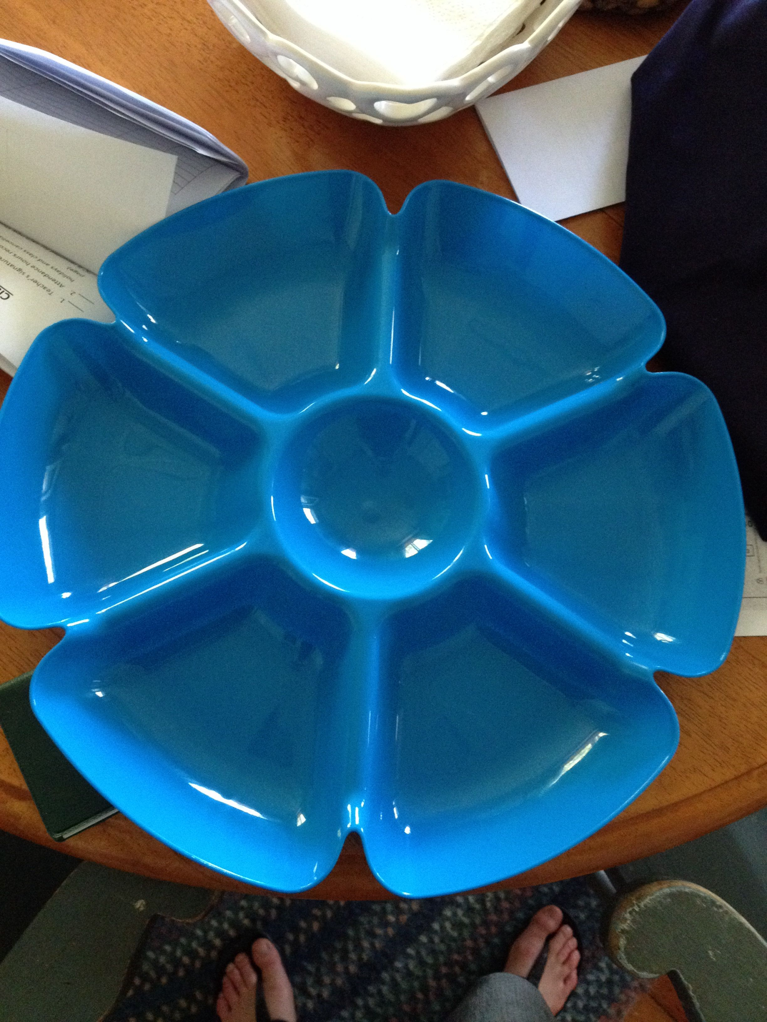 Dollar store chip and dip bowl for sorting! Chip and dip