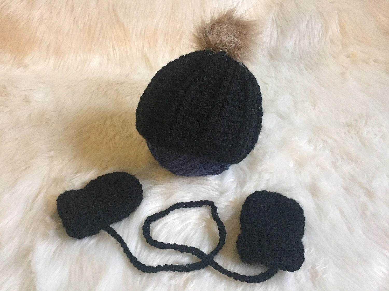 Newborn Fur Pom Pom Hat And Mitten Set 387344c026f