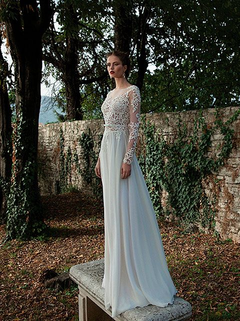vestido de novia corte imperio escote ilusión manga larga cuello