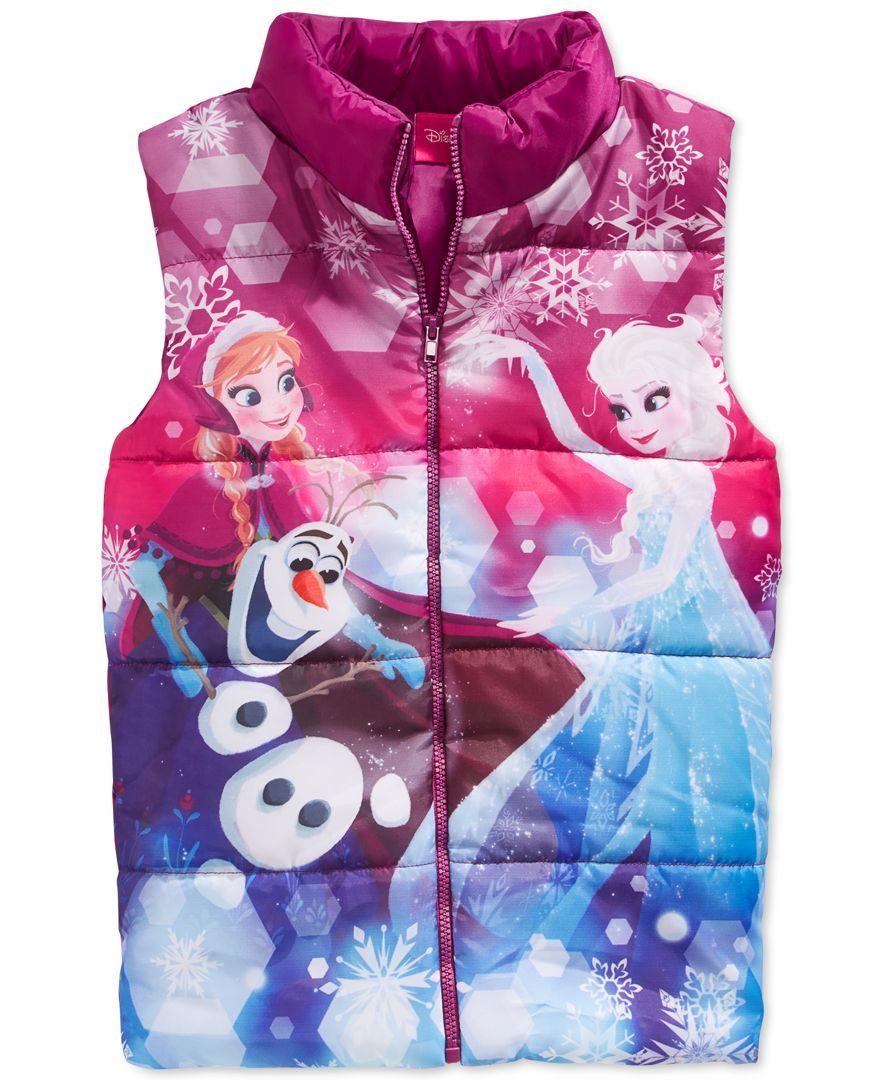4ff32ff8eca2 Frozen Little Girls' Anna, Elsa & Olaf Puffer Vest | Christmas gifts ...