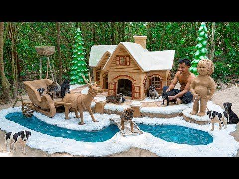 Rescue Cute Puppy Build Mud Dog House And Build Aquarium Around Dog House