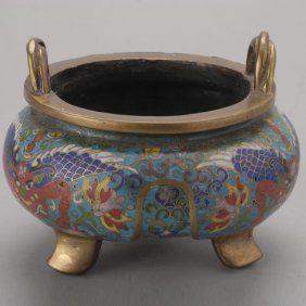 A Cloisonné-Enameled Tripod Censer, Late Qing