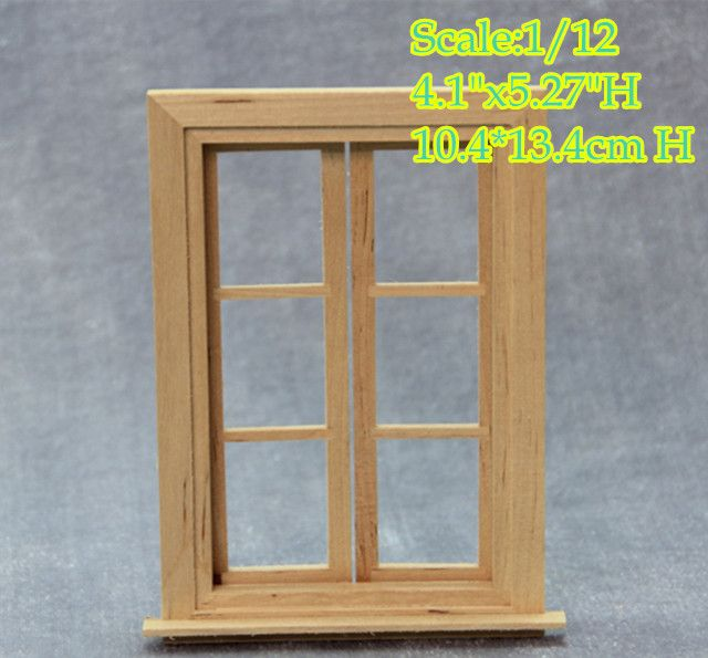 Online Shop Diy 1 12 Scale Dollhouse Miniature Window Frame Doll House Double Hung Wood Window Frames 6 Panel Glass Window 10 4 13 4cm H