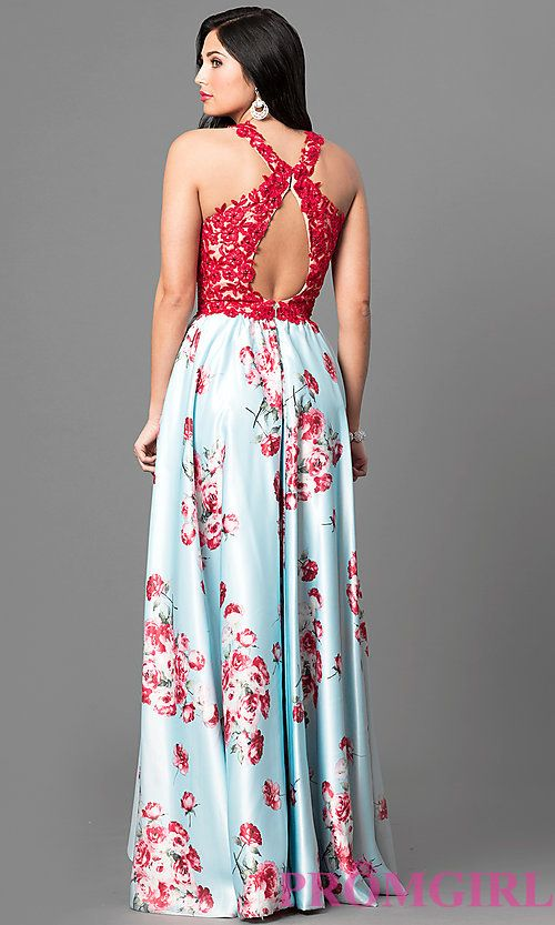 636f2675312 Lace Applique Floral Print Prom Dress with High Low Hem