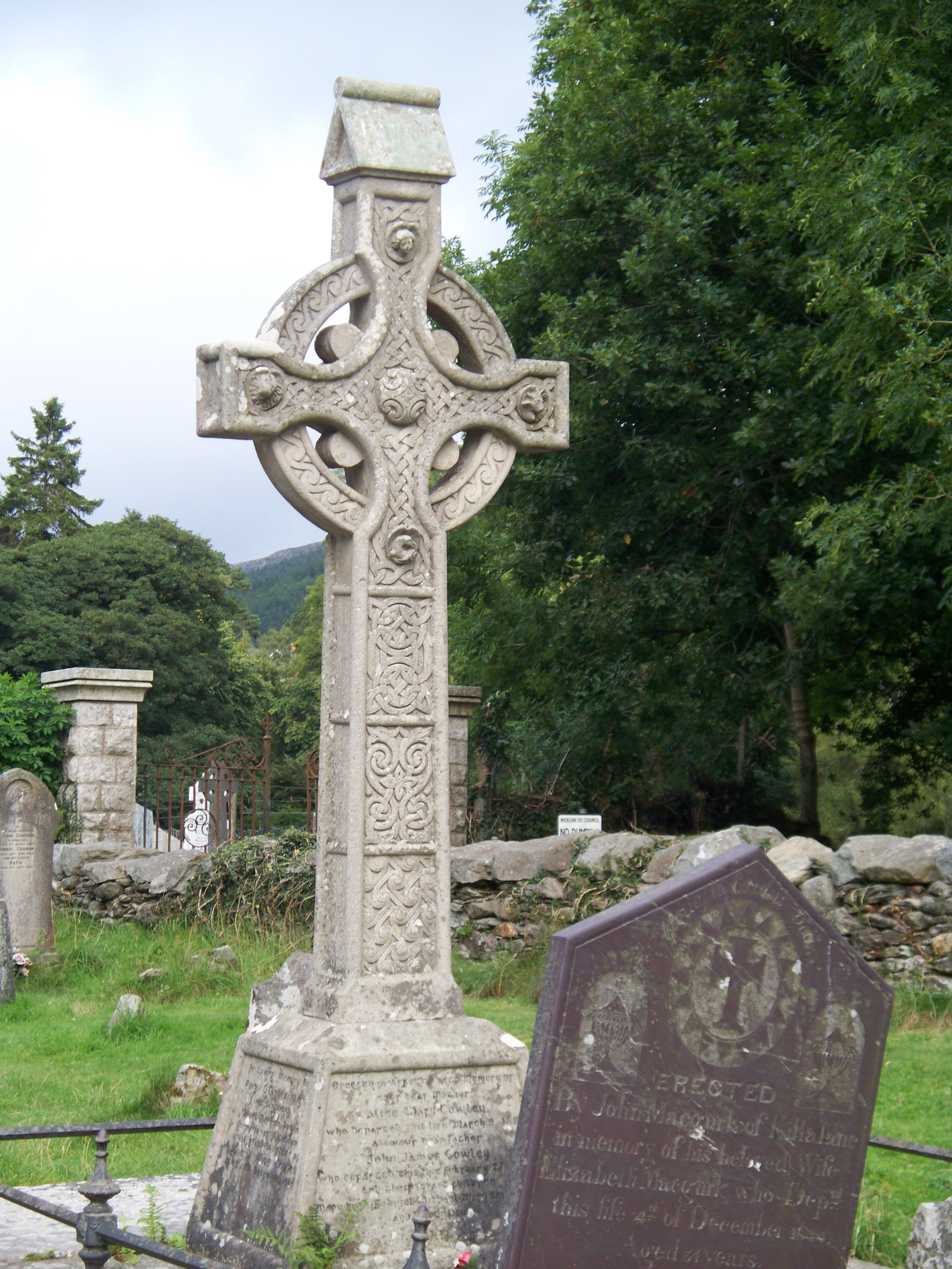 Celtic Cross at St. Kevin's Church and Cemetery in Glendolough