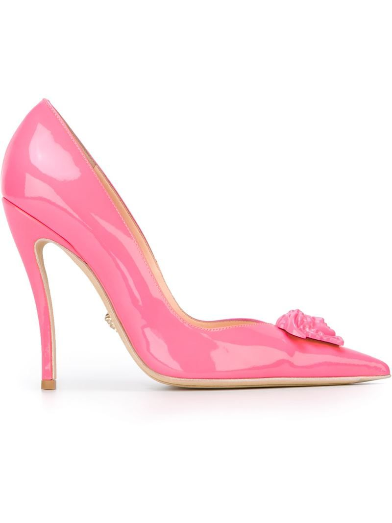 versace pink   Versace Medusa Embellished Leather Pumps in Pink (PINK    PURPLE . d9aef5ae8c16
