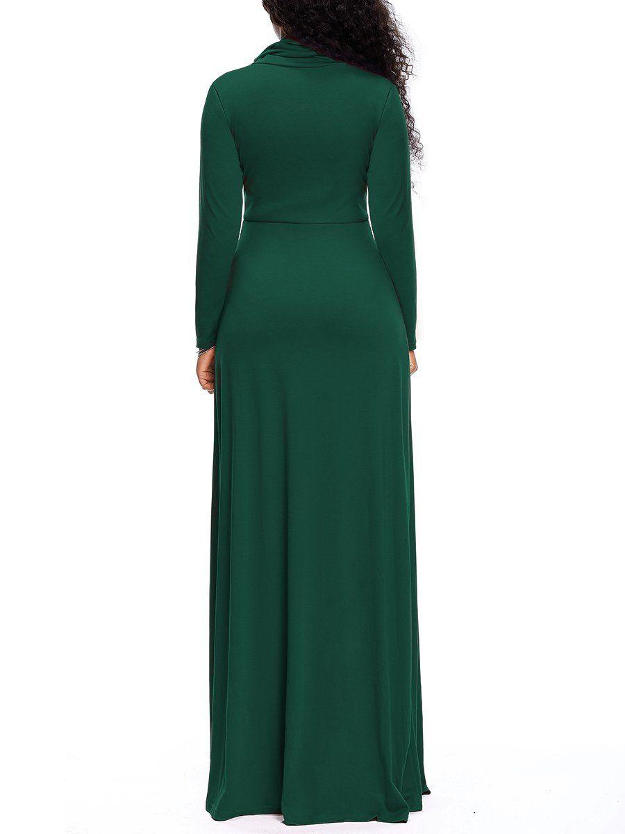 Voghtic womens cowl neck full sleeve plain maxi dress casual long