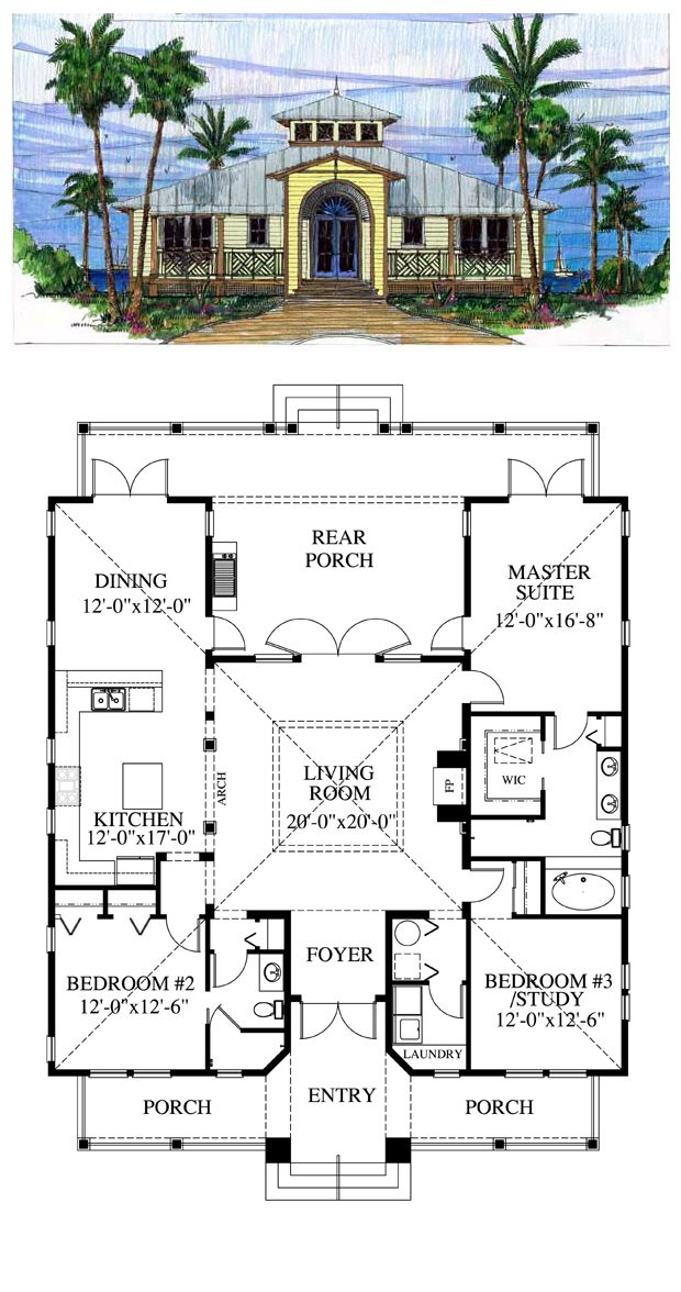 Florida Cracker House Plan chp-39721 | Pinterest | Crackers ...