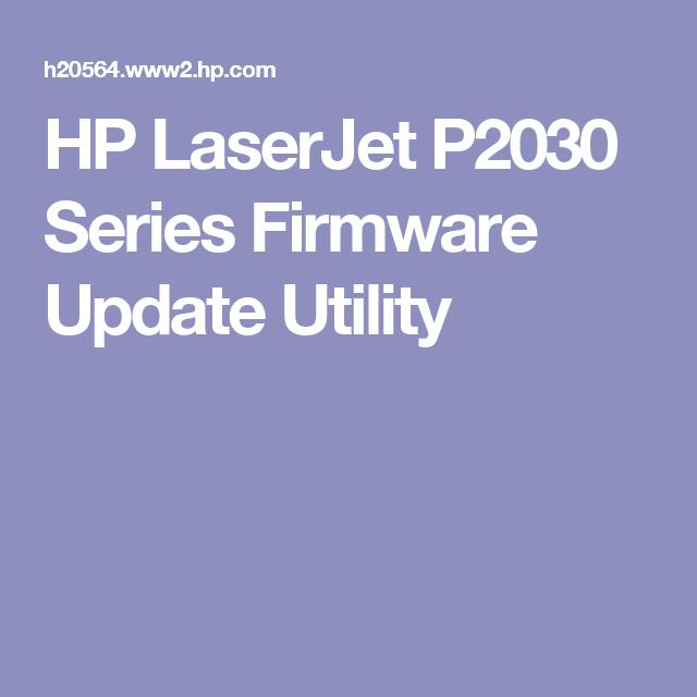 HP LaserJet P2030 Series Firmware Update Utility   Info