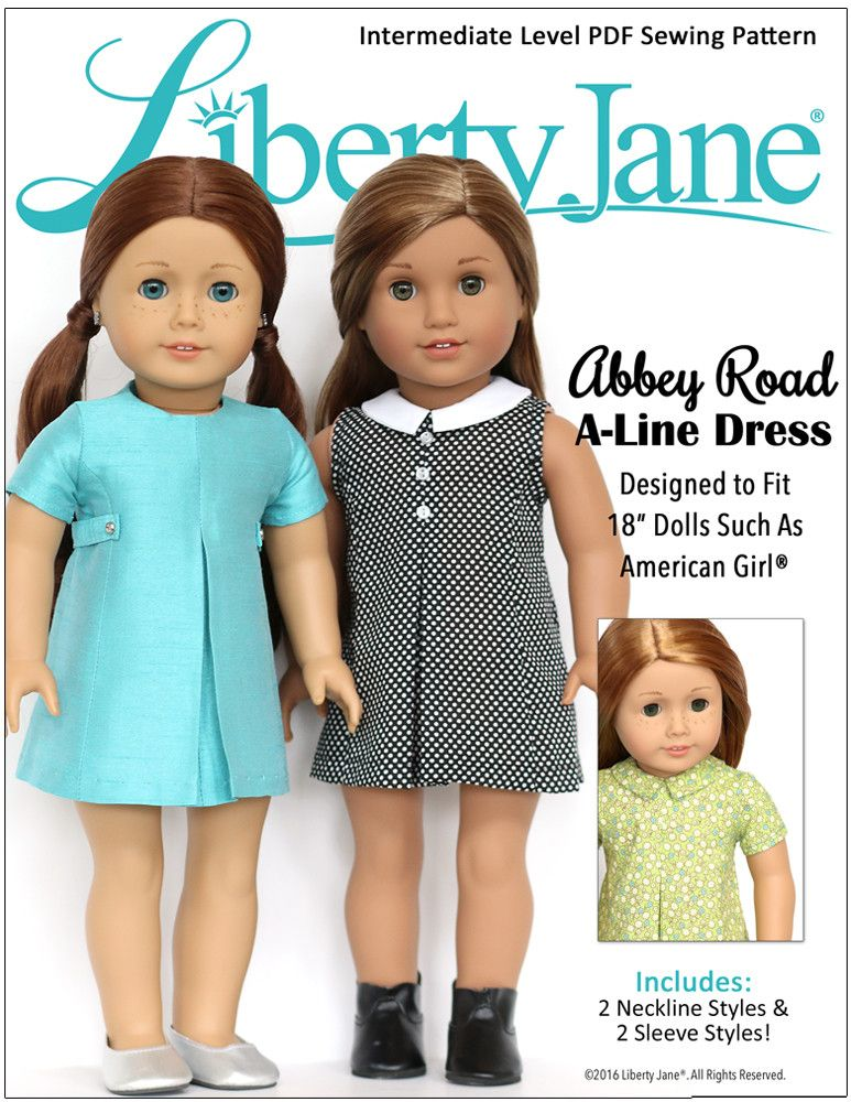 043d8300bf0 Liberty Jane Abbey Road A-Line Dress Doll Clothes Pattern 18 inch American  Girl Dollss