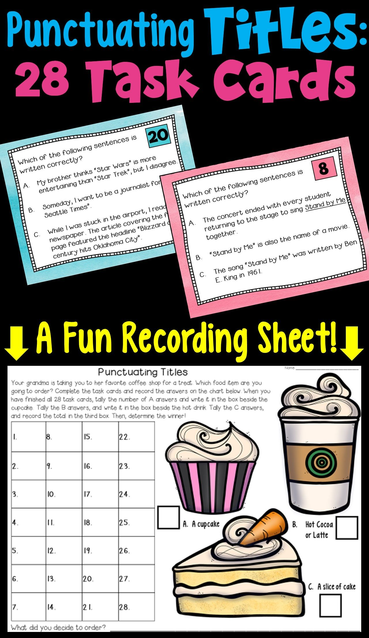 Punctuating Titles Task Cards