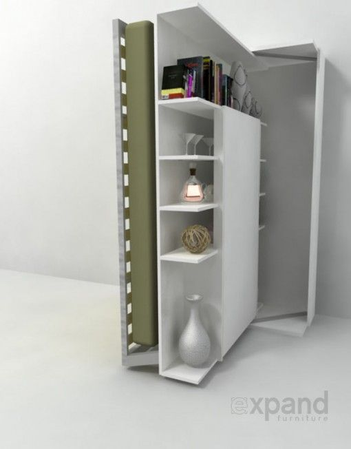 Compatto   Wall bed Revolving Bookcase with Table | Living small