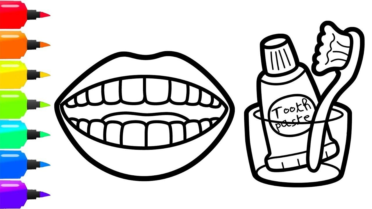 Toothbrush Drawing For Kids How To Draw Teeth Toothpaste And