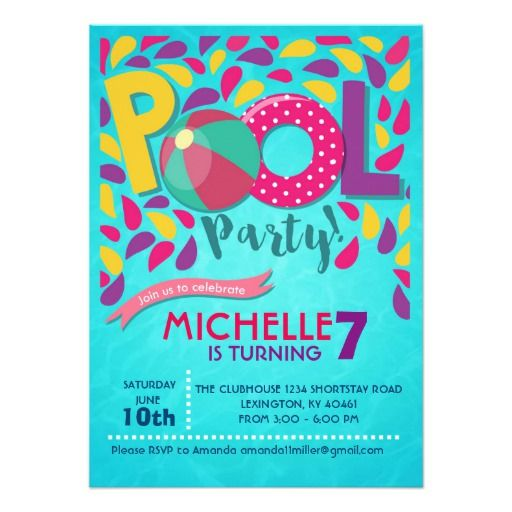 pool birthday party invitation beach and pool party invitations