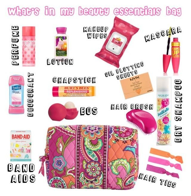 Beauty Essentials Bag by jadync123 on Polyvore featuring Eos, Burts Bees, NYX, Splendid, Batiste, Suave, Vera Bradley and Tangle Teezer #beautyessentials