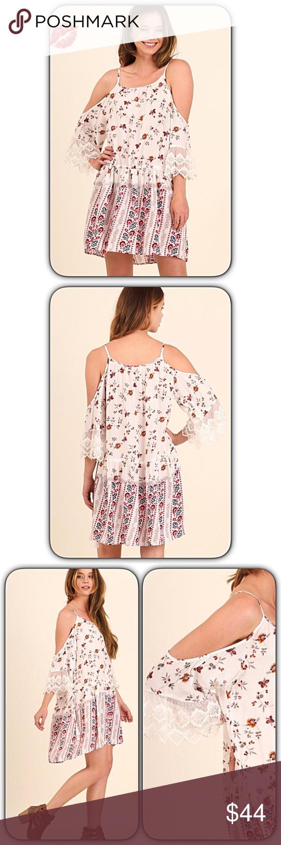 d86f212521 Fall Leaves Floral Bohemian Open Shoulder DressSML Gorgeous Boho Chic Floral  Print Open Shoulder Dress! Adjustable cinch drop waist with tasseled  drawstring ...